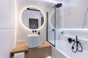 Bathroom with ceramic or vinyl tile