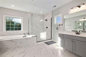 tile installation in bathroom