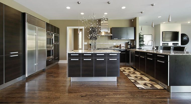 (modern kitchen with sleek cabinet